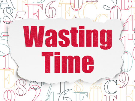wasting: Time concept: Painted red text Wasting Time on Torn Paper background with  Hexadecimal Code