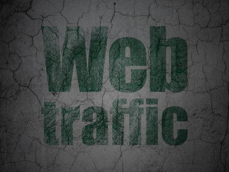 web traffic: Web development concept: Green Web Traffic on grunge textured concrete wall background Stock Photo