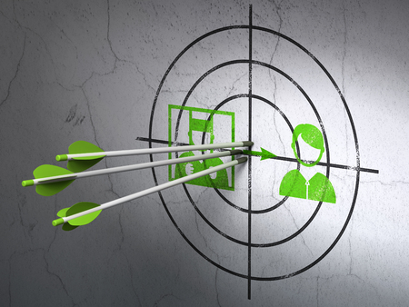 goal cage: Success law concept: arrows hitting the center of Green Criminal Freed target on wall background Stock Photo