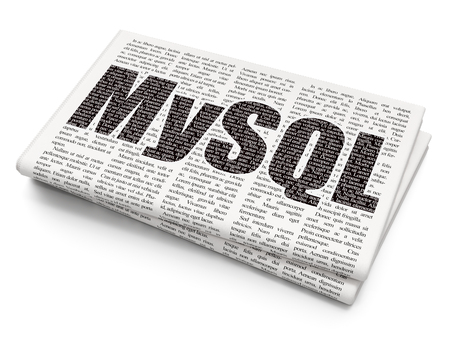mysql: Database concept: Pixelated black text MySQL on Newspaper background