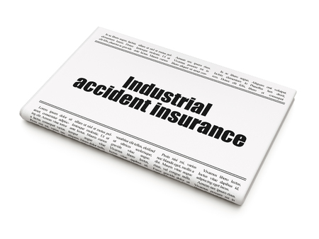 industrial accident: Insurance concept: newspaper headline Industrial Accident Insurance on White background, 3d render
