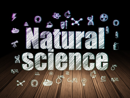 natural science: Science concept: Glowing text Natural Science,  Hand Drawn Science Icons in grunge dark room with Wooden Floor, black background