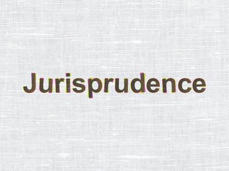 jurisprudencia: Concepto de la ley: La jurisprudencia de CMYK en el fondo de textura de tela de lino Foto de archivo