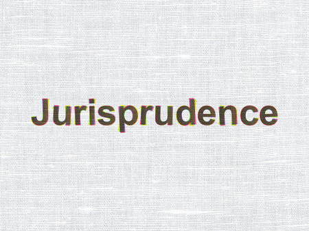 jurisprudence: Law concept: CMYK Jurisprudence on linen fabric texture background Stock Photo