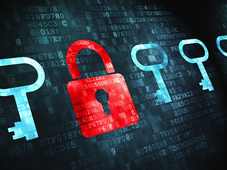 proteccion: Concepto de protección: Candado pixelada Y icono de llave sobre fondo digital