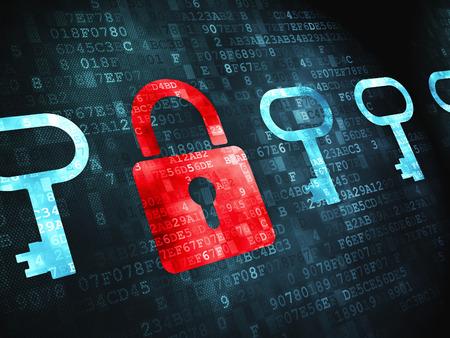 Concepto de protección: Candado pixelada Y icono de llave sobre fondo digital
