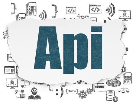 api: Software concept: Painted blue text Api on Torn Paper background with  Hand Drawn Programming Icons