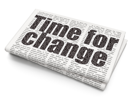 change: Timeline concept: Pixelated black text Time for Change on Newspaper background Stock Photo