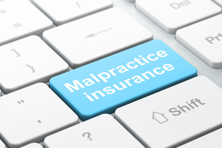 malpractice: Insurance concept: computer keyboard with word Malpractice Insurance, selected focus on enter button background, 3d render