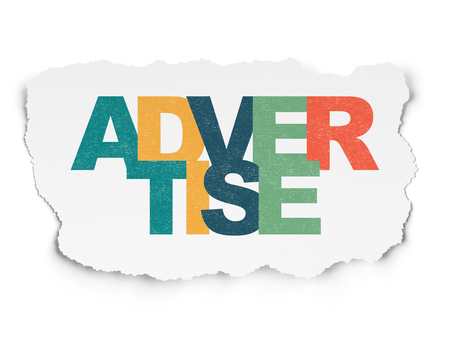 advertise: Advertising concept: Painted multicolor text Advertise on Torn Paper background