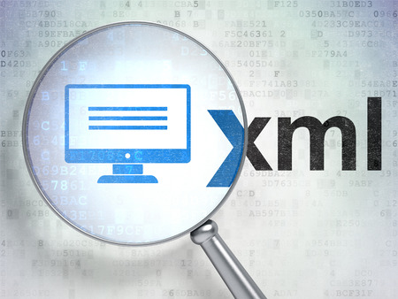 xml: Database concept: magnifying optical glass with Monitor icon and Xml word on digital background Stock Photo