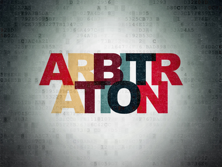 arbitration: Law concept: Painted multicolor text Arbitration on Digital Paper background Stock Photo