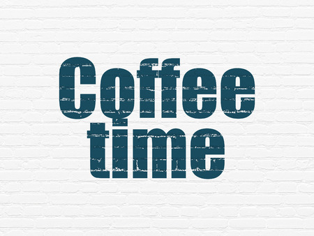 cronologia: Timeline concept: Painted blue text Coffee Time on White Brick wall background