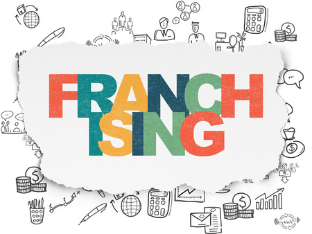 franchising: Finance concept: Painted multicolor text Franchising on Torn Paper background with  Hand Drawn Business Icons Stock Photo