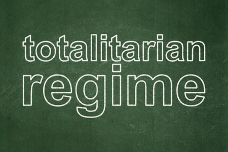 totalitarian: Political concept: text Totalitarian Regime on Green chalkboard background