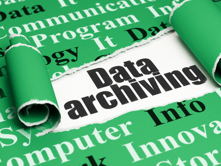 archiving: Data concept: black text Data Archiving under the curled piece of Green torn paper with  Tag Cloud Stock Photo