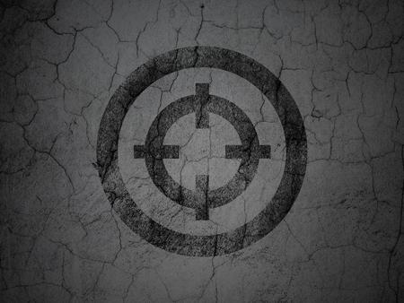 black textured background: Business concept: Black Target on grunge textured concrete wall background