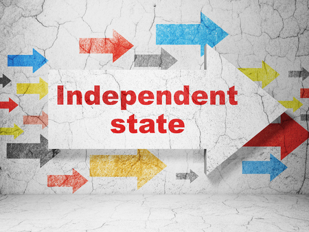 independent: Politics concept:  arrow with Independent State on grunge textured concrete wall background