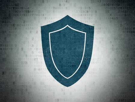 passkey: Security concept: Painted blue Shield icon on Digital Paper background