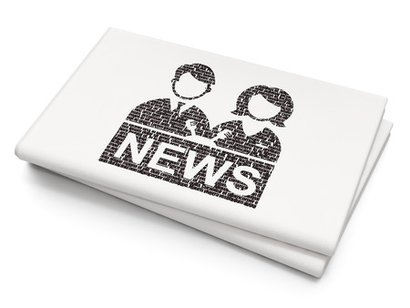 newscaster: News concept: Pixelated black Anchorman icon on Blank Newspaper background Stock Photo