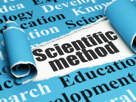 metodo cientifico: Concepto de la ciencia: Método Científico texto negro debajo de la pieza rizado de papel rasgado azul con la nube de la etiqueta Foto de archivo
