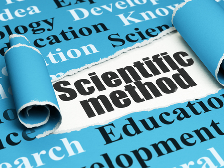 metodo cientifico: Science concept: black text Scientific Method under the curled piece of Blue torn paper with  Tag Cloud
