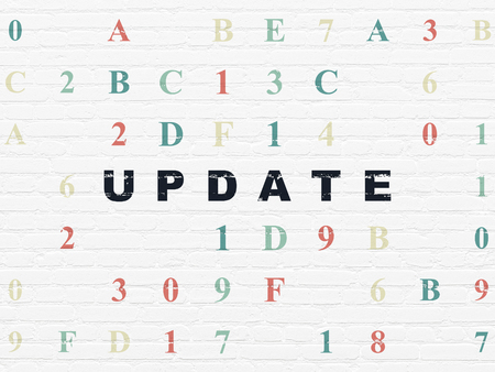 hexadecimal: Web design concept: Painted black text Update on White Brick wall background with Hexadecimal Code Stock Photo