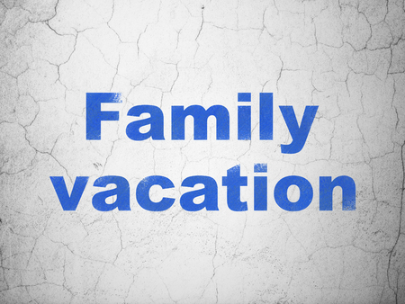 family vacation: Travel concept: Blue Family Vacation on textured concrete wall background