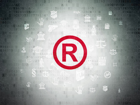r regulation: Law concept: Painted red Registered icon on Digital Paper background with  Hand Drawn Law Icons