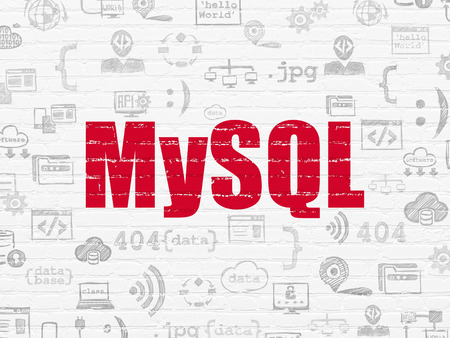 mysql: Software concept: Painted red text MySQL on White Brick wall background with  Hand Drawn Programming Icons