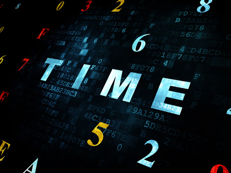 cronologia: Time concept: Pixelated blue text Time on Digital wall background with Hexadecimal Code