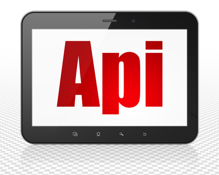api: Database concept: Tablet Pc Computer with red text Api on display