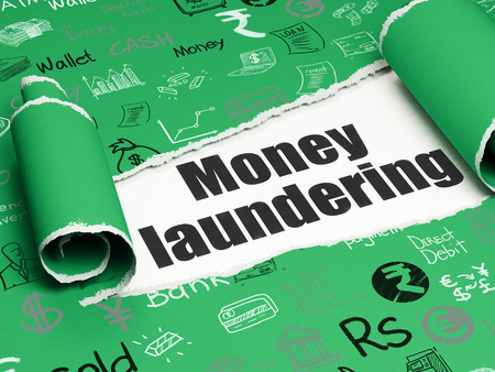 Banking concept: black text Money Laundering under the curled piece of Green torn paper with  Hand Drawn Finance Icons