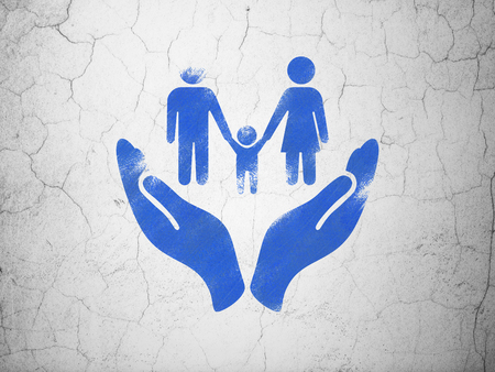 family policy: Insurance concept: Blue Family And Palm on textured concrete wall background