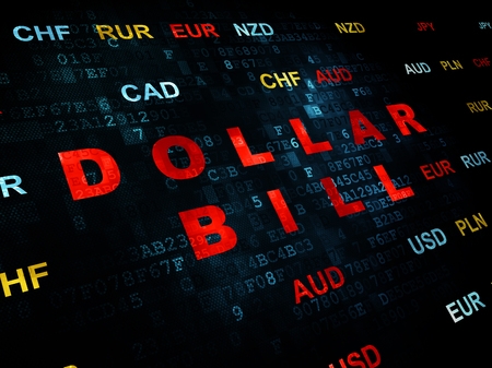 stock price: Banking concept: Pixelated red text Dollar Bill on Digital wall background with Currency
