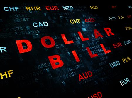 bolsa de valores: Concepto de banca: pixelada Dólar Bill texto de color rojo sobre fondo de pared digital con moneda
