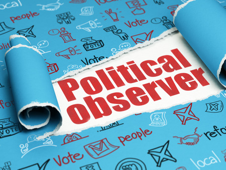 observer: Political concept: red text Political Observer under the curled piece of Blue torn paper with  Hand Drawn Politics Icons Stock Photo