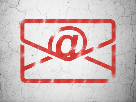 grungy email: Finance concept: Red Email on textured concrete wall background Stock Photo