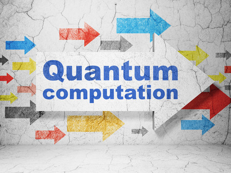 quantum: Science concept:  arrow with Quantum Computation on grunge textured concrete wall background
