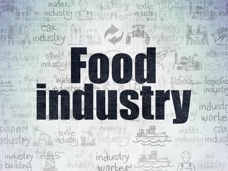 food industry: Manufacuring concept: Painted black text Food Industry on Digital Paper background with   Hand Drawn Industry Icons