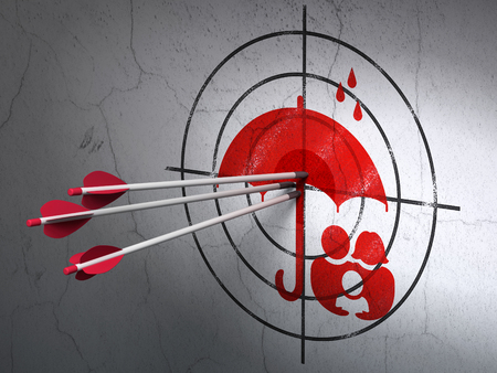 success security: Success security concept: arrows hitting the center of Red Family And Umbrella target on wall background Stock Photo