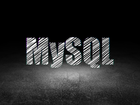 mysql: Programming concept: Glowing text MySQL in grunge dark room with Dirty Floor, black background Stock Photo