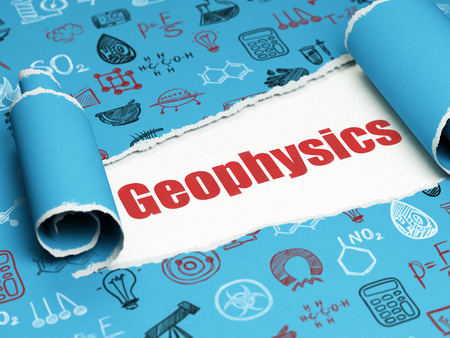 Science concept: red text Geophysics under the curled piece of Blue torn paper with  Hand Drawn Science Icons Stock Photo