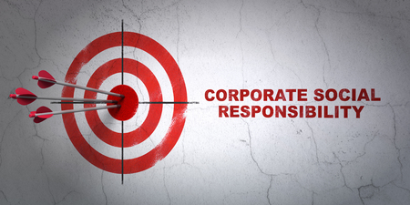 hitting a wall: Success finance concept: arrows hitting the center of target, Red Corporate Social Responsibility on wall background