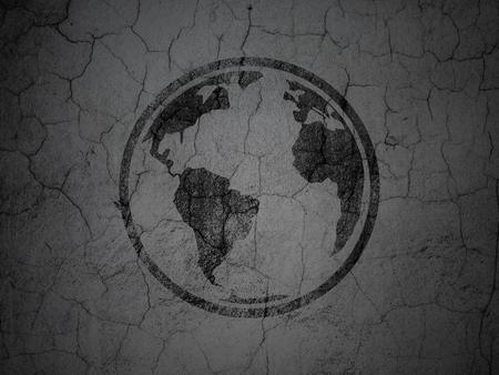 black textured background: Science concept: Black Globe on grunge textured concrete wall background