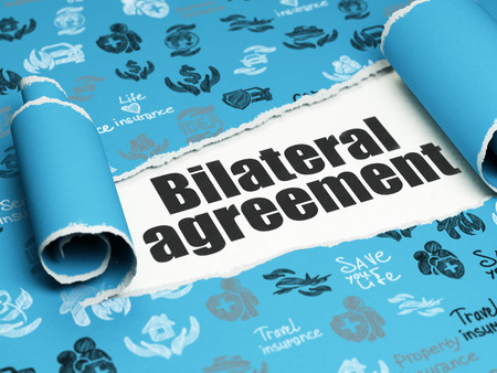 bilateral: Insurance concept: black text Bilateral Agreement under the curled piece of Blue torn paper with  Hand Drawn Insurance Icons Stock Photo