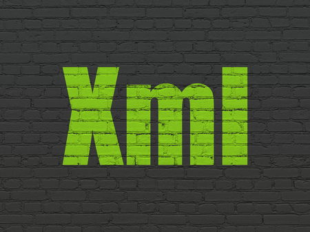 xml: Programming concept: Painted green text Xml on Black Brick wall background