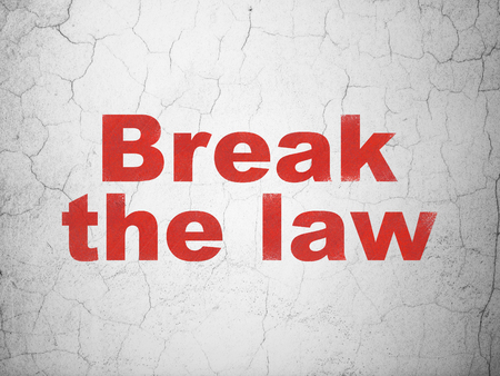 cement court: Law concept: Red Break The Law on textured concrete wall background