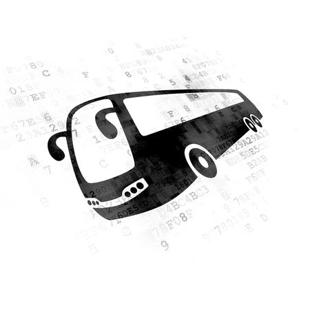 pixelated: Travel concept: Pixelated black Bus icon on Digital background Stock Photo
