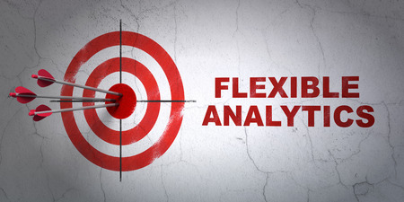 Success finance concept: arrows hitting the center of target, Red Flexible Analytics on wall background